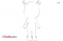 Ladybug Cute Cartoon Girl Outline Clip Art