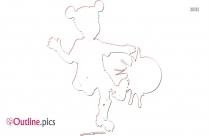 Little Girl Kicking Ball Clip Art Outline