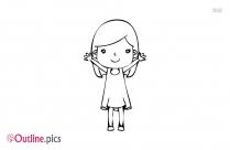 Little Girl Raising Hand Outline