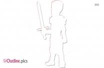 Man With Sword Outline Illustration
