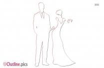 Bridal Cartoon Outline Clip Art