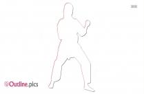 Cartoon Karate Girl Outline