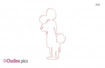Mom And Children Outline Design