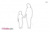 Mom Holding Kid Outline
