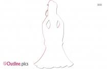 Snow White Princess And Bird Outline