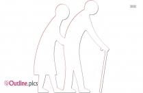 Old Couple Walking Clip Art Outline