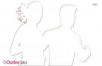 Wedding Couple Outline Sketch