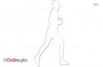 Male Athlete Running Outline Transparent