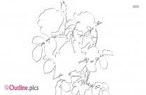 Redoute Rose Outline Clip Art
