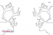 Reindeer Head Outline Drawing