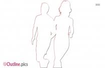 Running Couple Outline Clip Art