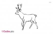 Running Deer Outline Clipart