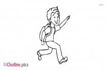 Running School Boy Outline