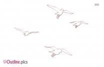Spring Birds Outline Sketch