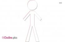 Stick Man Karate Kick Outline Image