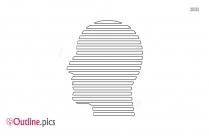 Striped Man Head Outline