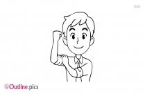 Strong Cartoon Man Outline Vector Download