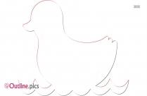 Cartoon Duck With Umbrella Outline Design