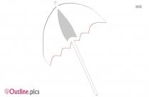 Cartoon Closed Umbrella Outline Drawing