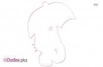Fancy Umbrella Outline Sketch