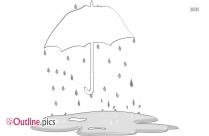 Umbrella Spring Shower Outline Image