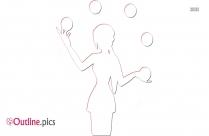 Woman Juggling Many Balls Outline Art
