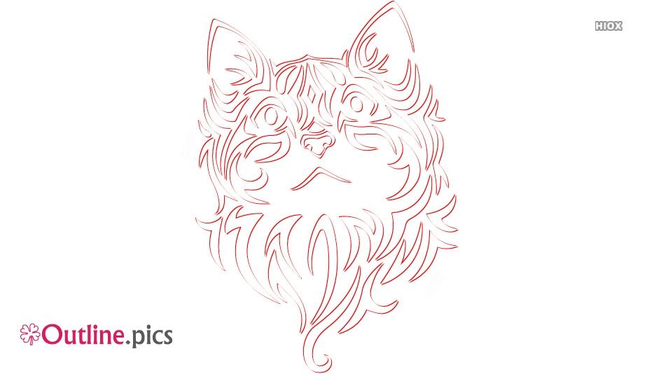 Tribal Cat Outline Image, Clip Art