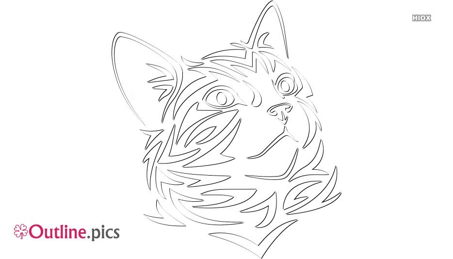 Tribal Kitten Line Art, Outline Image